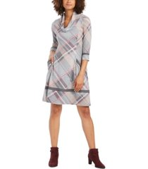 robbie bee petite plaid cowlneck sweater dress