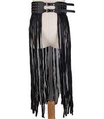 cintura fantastica lunga con frange cintura nera in pu per le donne cintura con fibbie lunghe con rivetti e nappe cintura con fibbia