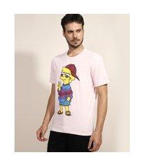 camiseta masculina lisa os simpsons manga curta gola careca rosa claro