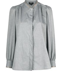a.p.c. patty braid-trimmed cotton shirt - blue