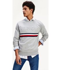 tommy hilfiger men's signature stripe sweatshirt medium grey heather - xxl