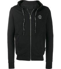 philipp plein crystal-embellished skull motif hoodie - black