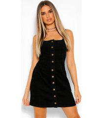 button through cord dress, black