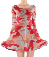 camouflage bright red longsleeve skater dress