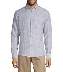 saks fifth avenue men's striped linen shirt - chateau grey - size s