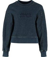 alberta ferretti cotton crew-neck sweatshirt with logo