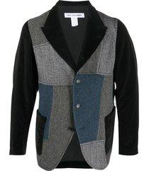 comme des garçons shirt patchwork single-breasted blazer - black