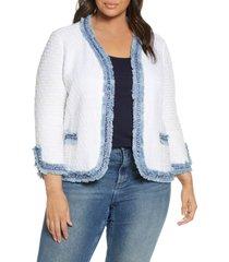 plus size women's nic+zoe bright side open front crop jacket