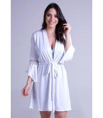 hobby roupão bravaa modas robe amarrar lingerie 241 branco - kanui
