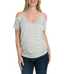 bun maternity bliss cold shoulder maternity/nursing tee, size x-large in gray and white stripe at nordstrom