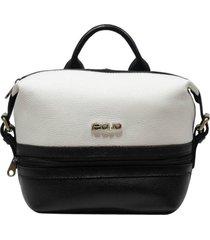 bolsa mochila de couro recuo fashion bag preto/branco