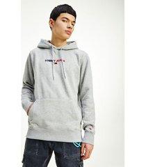 tommy hilfiger men's linear logo hoodie light grey heather - xxl