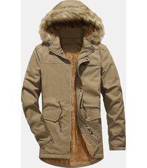 plus giacca da uomo calda in pile antivento con cappuccio interno in taglie forti