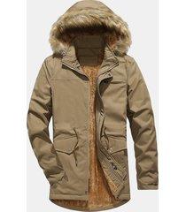 plus taglie interne in pile antivento con cappuccio giacca antivento per uomo