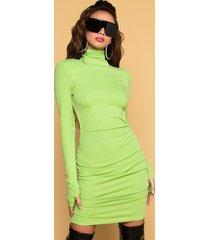akira come to life long sleeve turtleneck mini dress