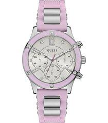 reloj guess breeze/w1234l2 - plateado/rosa