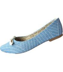 baletas azul claro con rayas