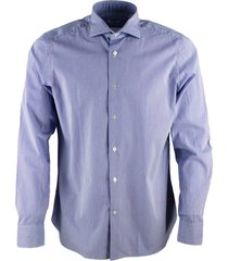 borriello napoli striped shirt, marechiaro collar, hydro washed with hand-sewn mother-of-pearl buttons