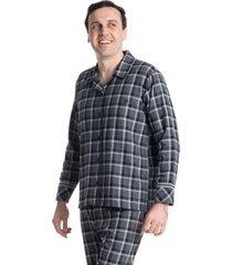 pijama masculino longo abotoado xadrez tiago