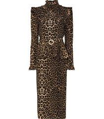 alessandra rich belted leopard-print peplum midi dress - brown