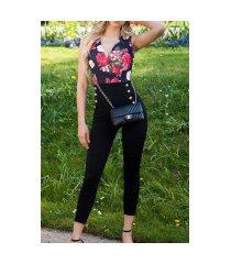 sexy jumpsuit met bloemen-print zwart
