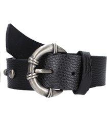 cinturon edimbuergo cuero negro pollini