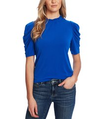 women's cece puff sleeve crepe top, size large - blue