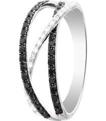 anello in oro bianco e diamanti bianchi e neri per donna