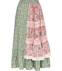 rentrayage tiered patchwork prairie skirt - multicolour