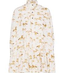 printed cotton poplin kort klänning vit ganni