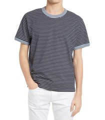 men's club monaco stripe ringer t-shirt, size small - blue