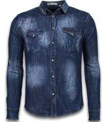 spijkerblouse slim fit vintage washed