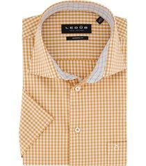 overhemd ledub oranje geruit modern fit