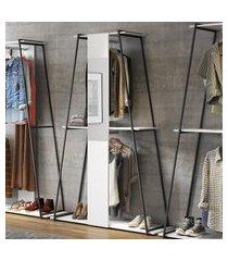 estante roupeiro com espelho be mobiliário tog branco