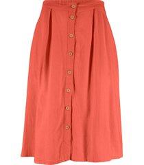 gonna in misto lino con bottoni (rosso) - bpc bonprix collection