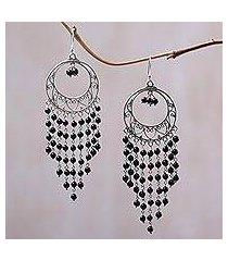 onyx chandelier earrings, 'raining dreamcatchers' (indonesia)