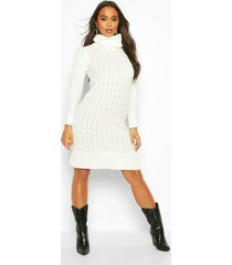 cable knitted roll neck midi dress, cream
