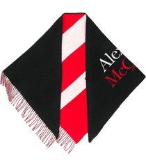 alexander mcqueen logo-print striped shawl scarf - black