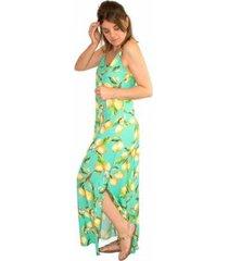 vestido longo viscose estampado lemon print fendas laterais - feminino