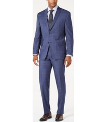 marc new york by andrew marc men's modern-fit stretch denim blue windowpane suit