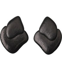 natori acacia wood clip earrings, women's