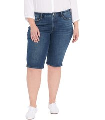 plus size women's nydj side slit denim bermuda shorts, size 22w - blue