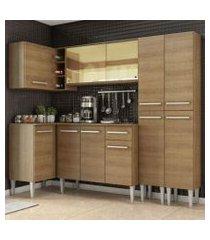 cozinha completa de canto madesa emilly line com balcão, armário vidro reflex e paneleiro rustic rustic