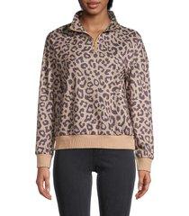 stellah women's animal-print quarter-zip sweater - camel - size l