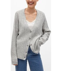 mango women's ribbed cardigan