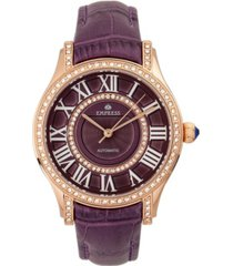 empress xenia automatic purple leather watch 35mm