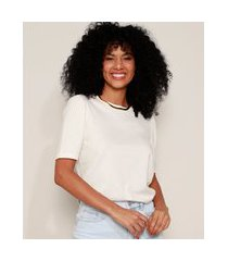 camiseta feminina básica manga bufante decote redondo off white
