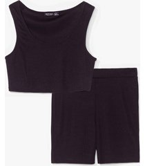 womens keep it together crop top and biker shorts set - black