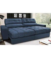 sofã¡ retrã¡til e reclinã¡vel com molas ensacadas cama inbox master 2,12m tecido suede azul - incolor - dafiti