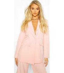 cut away button mix & match tailored blazer, blush